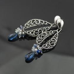 wire-wrapping,koronkowe,srebrne,ażurowe,piękne - Kolczyki - Biżuteria