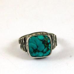 srebrny pierścionek z turkusem - Pierścionki - Biżuteria