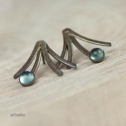 kolczyki srebrne,niebieskie kolczyki,z agatami - Albumy - Akcesoria