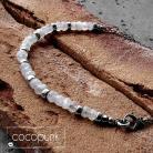 Naszyjniki biały,kamień księżycowy,surowy,oksydowany