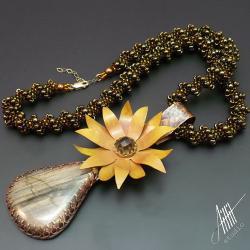 aillilstudio,kwiatowy,słoneczniki,metaloplastyka - Naszyjniki - Biżuteria