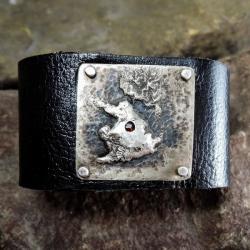 bransoleta skórzana,srebro,granat - Bransoletki - Biżuteria
