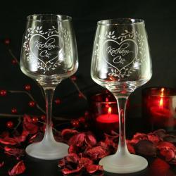kieliszki,piaskowane,serce,walentynki - Ceramika i szkło - Wyposażenie wnętrz