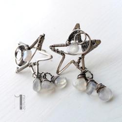 kolczyki srebrne,sztyfty,kamień księżycowy - Kolczyki - Biżuteria
