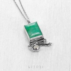 litori,handmade,wisior,szmaragd,srebro,zieleń - Wisiory - Biżuteria