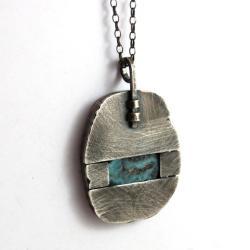 srebrny wisior z larimarem - Wisiory - Biżuteria