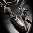 Naszyjniki srebrny,naszyjnik,wire-wrapping,koral,skamieniały