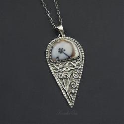 srebrny,naszyjnik,długi,z opalem,dendrytowy - Wisiory - Biżuteria