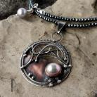 Naszyjniki naszyjnik srebrny,miedź,wire wrapping,perła