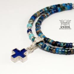 naszyjnik,krzyż,niebieski krzyżyk,koraliki - Naszyjniki - Biżuteria