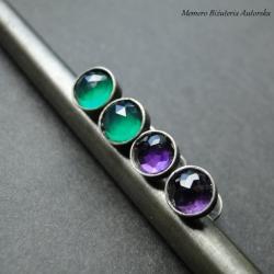 srebro,ametyst,onyks,zestaw,oksydowane - Kolczyki - Biżuteria