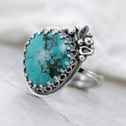 turkus,pierścionek z turkusem,srebrny - Pierścionki - Biżuteria