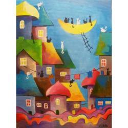 miasteczko,bajka,kolor - Obrazy - Wyposażenie wnętrz