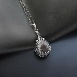 wisior,dwustronny,z kwarcem dendrytowym - Wisiory - Biżuteria
