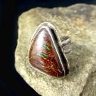 Pierścionki opal,blask,srebrny,srebro,zielony,tęczowy,boulder