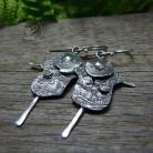 Kolczyki srebrne,oksydowane,surowe,strachy na wróble
