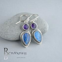 kolczyki z labradorytem,niebieskie kolczyki - Kolczyki - Biżuteria