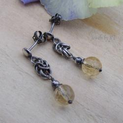 sztyfty,lekkie,chainmaille,cytryn,oksydowane, - Kolczyki - Biżuteria