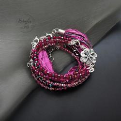 bransoletka,zestaw,z jedwabiem sari,z kwiatem - Bransoletki - Biżuteria