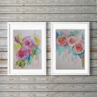 Obrazy akwarela,róże,czerwień,róż,zieleń