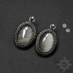 srebrne,klasyczne,eleganckie,obsydian,sztyfty,owal - Kolczyki - Biżuteria