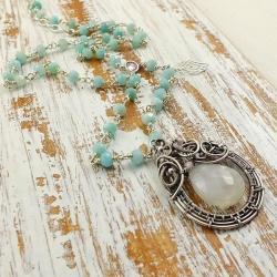 naszyjnik,niebieski,długi,wire-wrapping - Naszyjniki - Biżuteria