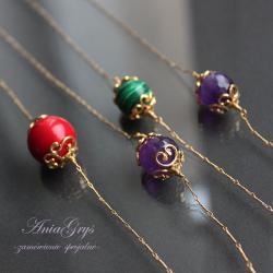 pozłacane kulki,delikatny łańcuszek,naszyjnik - Naszyjniki - Biżuteria