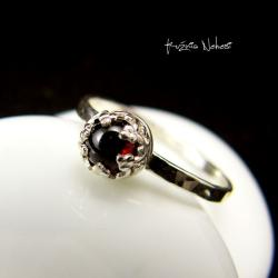 Nehesi,Pierścień,Ze Srebra,obączka,granatem - Pierścionki - Biżuteria