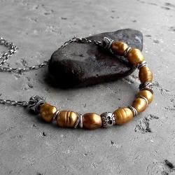 z perłami,srebrny,złoty,zdobiony,krótki - Naszyjniki - Biżuteria