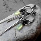 Kolczyki zielone,chalcedon,długie,bogate,srebro,surowe