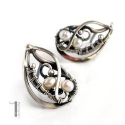 kolczyki srebrne,perły,wire wrapping,925 - Kolczyki - Biżuteria