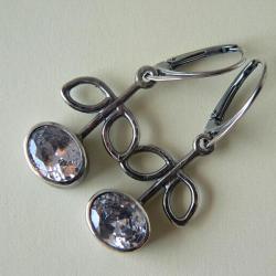 surowe srebro,srebro kute,cyrkonia - Kolczyki - Biżuteria