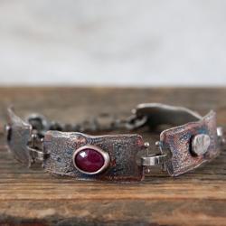srebrna bransoleta z rubinem - Bransoletki - Biżuteria