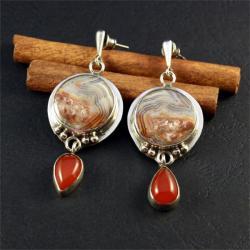 srebrne kolczyki z mineralami - Kolczyki - Biżuteria