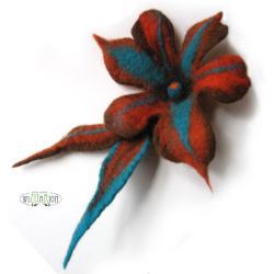 kwiat filcowy,broszka kwiat,filc,wełna,kwiat - Broszki - Biżuteria