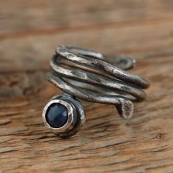 srebrny pierścionek z szafirem - Pierścionki - Biżuteria