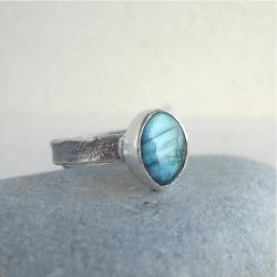 pierścionek,delikatny,labradoryt - Pierścionki - Biżuteria
