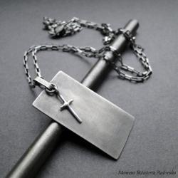 srebro,krzyżyk,nieśmiertelnik,naszyjnik,męski - Dla mężczyzn - Biżuteria