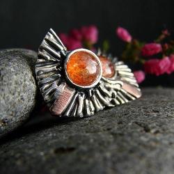 srebro,kolczyki,kamień słoneczny - Kolczyki - Biżuteria