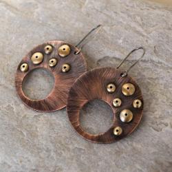 kolczyki miedziane,koła - Kolczyki - Biżuteria