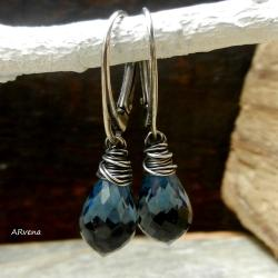eleganckie kolczyki,niebieskie kolczyki - Kolczyki - Biżuteria