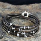 Dla mężczyzn bransoleta skórzana srebrna biżuteria,rzemień