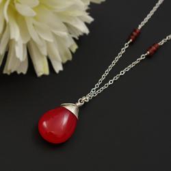 naszyjnik,czerwony,granat,agat,srebrny - Naszyjniki - Biżuteria
