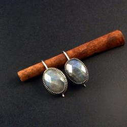 srebrne kolczyki z labradorytami - Kolczyki - Biżuteria