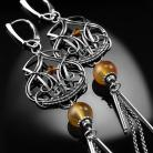 Kolczyki srebrne,kolczyki,wire-wrapping,karneol,cytryn,ciba