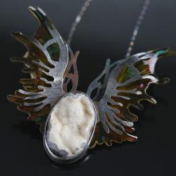 srebrny wisior,wisior z agatem, - Naszyjniki - Biżuteria