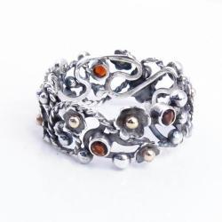 ażurowa obrączka,fantazyjna obrączka,kwiatowa - Pierścionki - Biżuteria