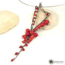 wisior,koral,asymetryczny,grono,czerwony,unikat - Wisiory - Biżuteria