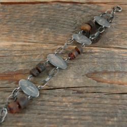 srebrna bransoleta z bursztynem - Bransoletki - Biżuteria