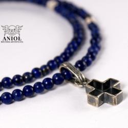naszyjnik,krzyż,niebieski krzyżyk,koraliki - Dla mężczyzn - Biżuteria